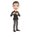 happy businessman holding mobile phone and pointin vector image vector image