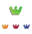 King crown sign Colorfull applique icons set vector image vector image