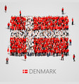large group of people in the denmark flag shape vector image