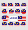 malaysia flag collection figure icons set vector image vector image