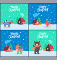 merry christmas animals poster with greeting vector image vector image