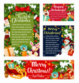 merry christmas holiday card with greetings vector image