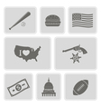 monochrome set with usa icons vector image