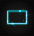 neon blue rectangle frame with space for text vector image