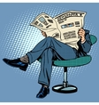 Newspaper reading man vector image vector image