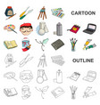painter and drawing cartoon icons in set vector image vector image