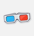 paper 3d glasses front view stereo retro glasses vector image vector image