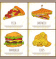 pizza sandwich hamburger and chips appetizer set vector image vector image