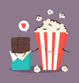 popcorn and chocolate bar sweet friends vector image