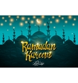 Ramadan kareem with silhouette mosque vector image vector image