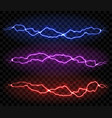 realistic lightning isolated on black background vector image vector image