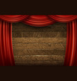 red curtains on wooden background vector image vector image