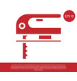 red electric jigsaw with steel sharp blade icon vector image vector image