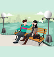 romantic couple in a park vector image vector image