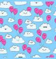 seamless pattern with clouds and pink air vector image