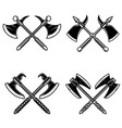 set crossed medieval axe isolated on white vector image vector image