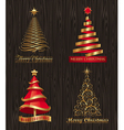 set - golden decorative christmas trees vector image vector image