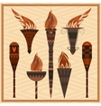 Set ornamental blazing torches elements greek vector image vector image