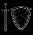 shield and sword hand drawn white sketch on black vector image vector image