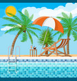 swimming pool and lounger palm tree vector image vector image