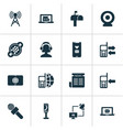 telecommunication icons set with ip camera vector image