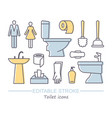 toilet icons with editable vector image vector image
