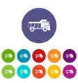 toy truck icons set flat vector image vector image