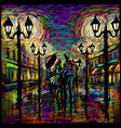two lovers with an umbrella in rain abstract