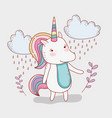unicorn animal with plants and clouds raining vector image vector image