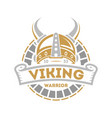 viking isolated label with horned helmet vector image