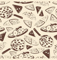 vintage pizza slices seamless pattern vector image vector image