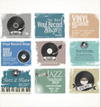 vinyl record shop retro grunge banner collection vector image vector image