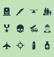 warfare icons set with helicopter soldier sniper vector image