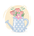 watering can with flowers foliage decoration vector image