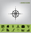 wind rose sign black icon at gray vector image vector image