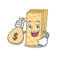 with money bag waffle character cartoon style vector image