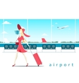 woman with suitcase at airport vector image vector image
