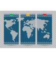 world map business cards set blue knitting vector image
