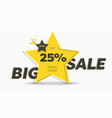 yellow sticker design in shape a star vector image