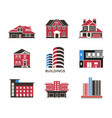 digital black red city buildings vector image