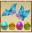Two blue birds with colored eggs in a golden stand vector image