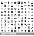 100 doctor icons set simple style vector image vector image