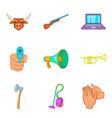 audio noise icons set cartoon style vector image
