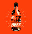beer bottle retro poster for pub or restaurant vector image vector image