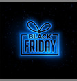 black friday blue neon gift background design vector image vector image