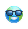 cartoon earth face happy smile wearing sun glasses vector image