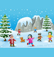 cartoon kids and dog playing in the snow vector image vector image