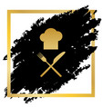 chef with knife and fork sign golden icon vector image vector image