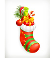 Christmas sock with gifts icon vector image