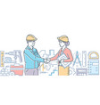 construction firm - colorful line design style vector image